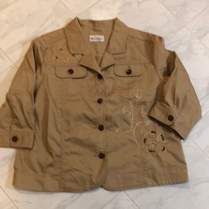 Tanjay button up tan jacket embroidered